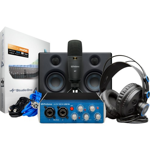 PRESONUS AUDIOBOX USB 96 STUDIO ULTIMATE Bundle con scheda audio USB, microfono, cuffie e monitor