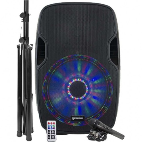 "GEMINI AS 12 BLU LIGHT PACK Kit con diffusore amplificato da 12"" con LED multicolore, stand e microfono"