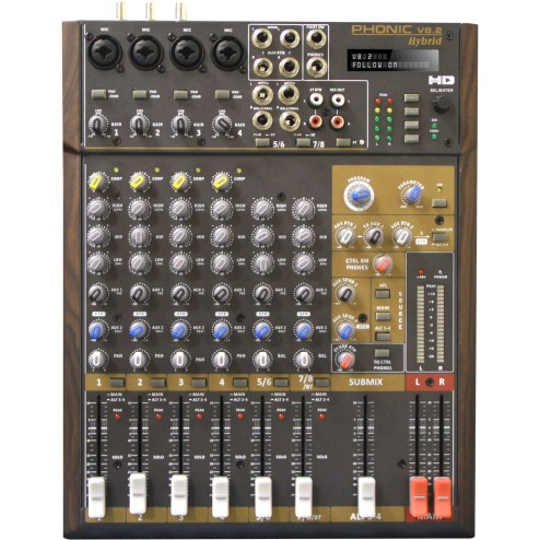 PHONIC V 8.2 HYBRID Mixer audio video a 8 canali