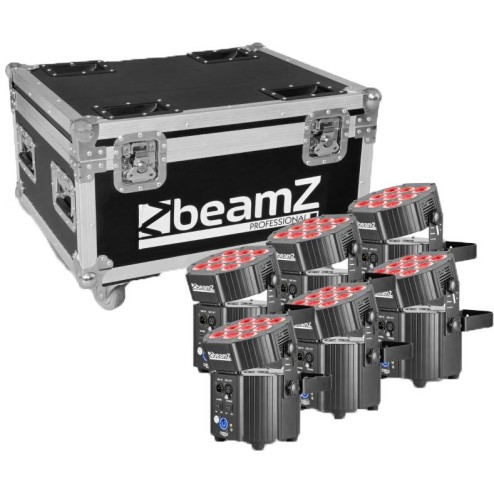 BEAMZ BBP60 UPLIGHTER SET 6PCS Kit di 6 fari RGBWA-UV con flightcase
