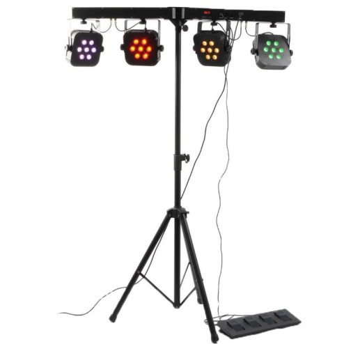 BEAMZ LED PARBAR 4-7x10W Kit con 4 fari da 7 Quad LED