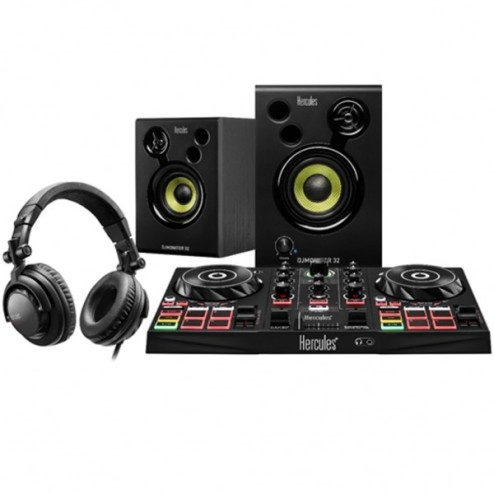 HERCULES DJ LEARNING KIT Bundle con console DJ, Monitor, cuffie e software