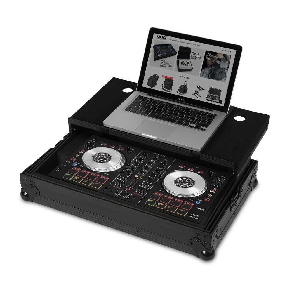 UDG ULTIMATE FLIGHT CASE PIONEER DDJ-SB/SB2 BLACK PLUS FLIGHT CASE PROFESSIONALE + LAPTOP COLORE NERO