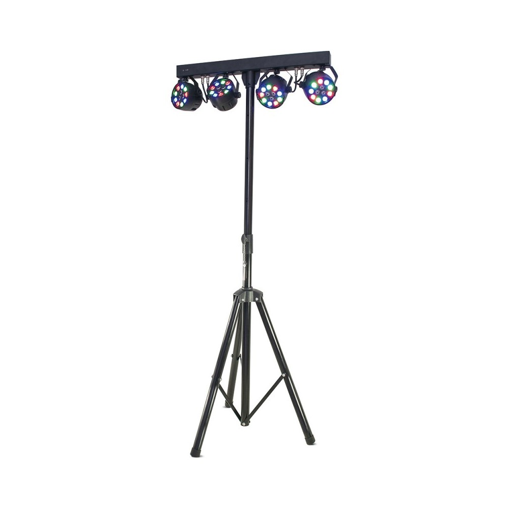 IBIZA DJLIGHT80LED kit con Supporto per luci e 4 led par 12 X 1W RGBW