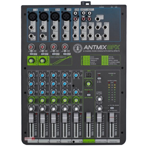 ANT ANTMIX 8FX CONSOLLE MIXER A 8 CANALI