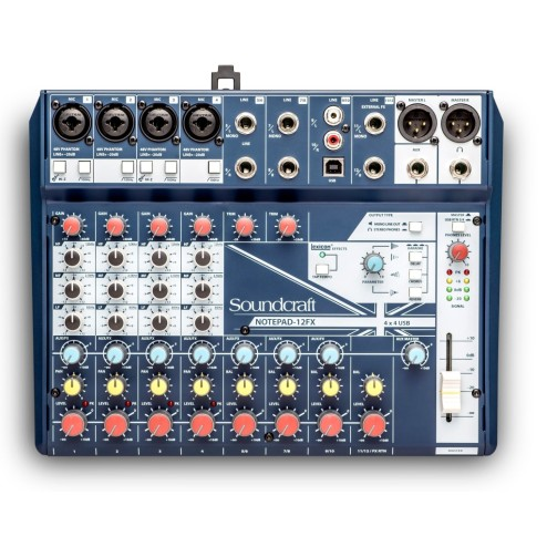 SOUNDCRAFT NOTEPAD-12FX Notepad 12, Console Analogica 4 Ingressi Mono + 4 Stereo, USB 4 In/4 Out, 1 FX Lexicon